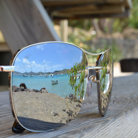 Left Behind by Judy Tomlinson - Artistic Objects Clothing & Accessories ( water, reflection, glasses, beach, forgotten, caribbean )