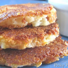 Parmesan Crusted Smoked Cheddar Potato Cakes