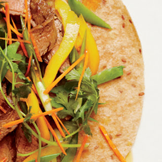 Grilled Flank Steak Wraps with Sesame-Ginger Dressing