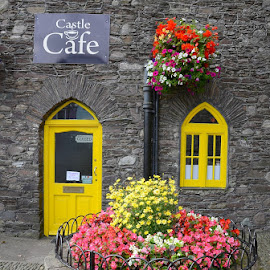 Castle Caffe by Francis Xavier Camilleri - City,  Street & Park  Markets & Shops ( ireland, window, door, architecture, flowers )