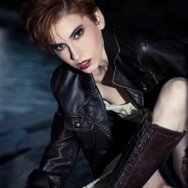 Rebel by Emily Teague - People Fashion ( flash, model, fierce, dark, intense, moody, high fashion, redhead )