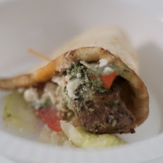 Lamb Gyro with Tzatziki Sauce and Spicy Sour Cream Sauce