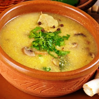Potato Soup with Cornmeal and Mushrooms