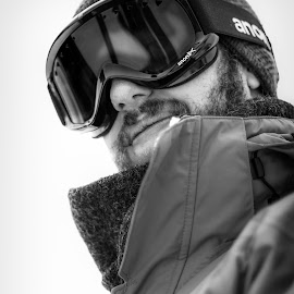 Goggles by Andrew J Knepper - People Family ( contrast, up close, skiing, black and white, colorado, goggles, trip, portrait, Selfie, self shot, self portrait )