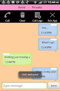 Hide SMS Text Contact Call Log Screenshot