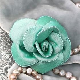 Teal silk rose