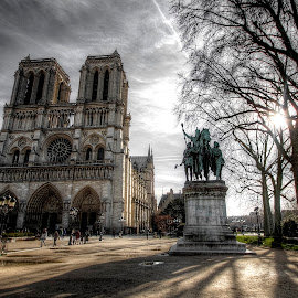 Notre Dame 2 by Ben Hodges - City,  Street & Park  Historic Districts ( pigeons, europe, hdr, notre dame, horse, children, travel, birds, sun, paris, cloud, france, st michel )