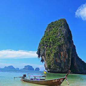 Phra Nang Beach by Brent Huntley - Landscapes Travel ( brentsfavoritephotos.blogspot.com, railey, tropical, cliff, beach thailand, sea, travel, seascape, paradise, cave, phra nang, landscape, boat, tamron, photography, island, asia, south, longtail, nikon )
