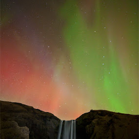 Skogafoss Aurora by Brens Photo's - Landscapes Travel ( water, level 10, iceland, light painting, aurora, northern lights, kp index, night shoot )