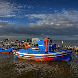 Floating in blue by Alexandre Ribeiro Dos Santos - Transportation Boats ( alcácer do sal, wood, carrasqueira, boat, portugal, dock )