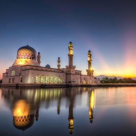Changing of the Guard by Zac Robinson - Buildings & Architecture Places of Worship ( reflection, dawn, kota kinabalu, sunbeams, islamic, mosque, asia, malaysia, crescent moon, kk, likas mosque, borneo )