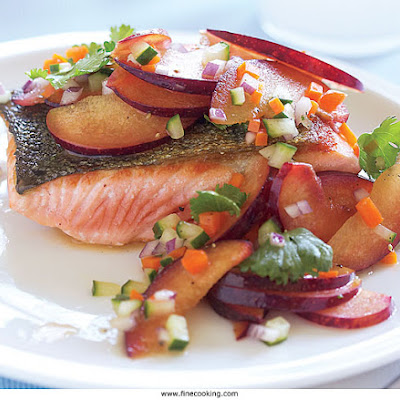 Pan-Seared Salmon with Plum-Cucumber Salad