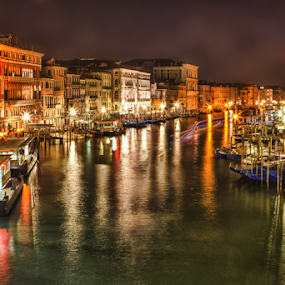 Grand Canal by Gary Beresford - City,  Street & Park  Street Scenes ( water, grand canal, venice, reflections, night, italy )