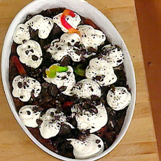 Graveyard Pudding with Whipped Cream Ghosts