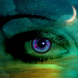 Eye In The Sky by Elizabeth Burton - Digital Art Abstract ( moon, purple, eyelashes, starry night, green, beautiful, teal, yellow, starry eyed, sky, blue, magical, stars, iris, blue eyes, crescent moon, night sky, eye )