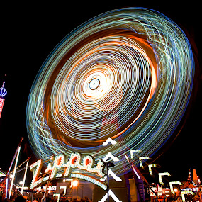 Tilted Zipper by Roy Walter - City,  Street & Park  Amusement Parks ( lights, rides, amusement park, park, county fair, night, city )