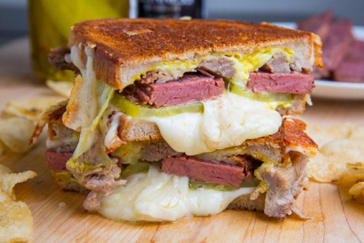 Corned Beef Cuban Grilled Cheese Sandwich Recipe | Yummly