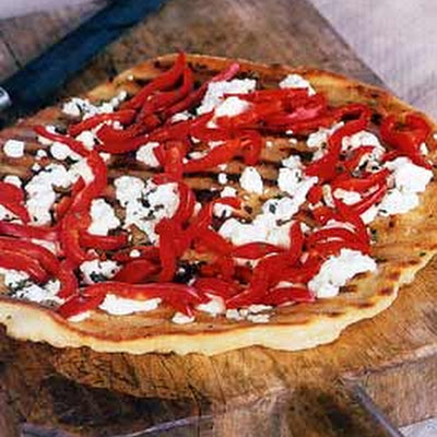 Feta and Red Bell Pepper Pizza