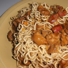 Chicken on Pasta With Spicy Asian - Style Sauce