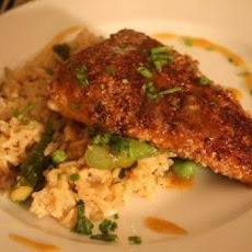 Pecan-Crusted Trout with Orange-Rosemary Butter Sauce