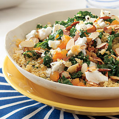 Kale-Couscous Salad with Goat Cheese and Apricots