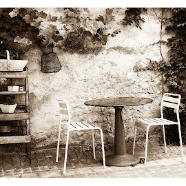 terrasse, sepia, monochrome, summer, chairs by Rousselle Ria - City,  Street & Park  Street Scenes ( Chair, Chairs, Sitting )