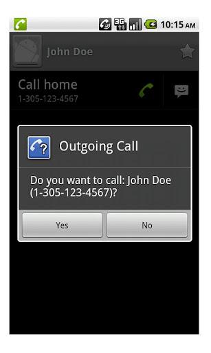 Outgoing Call Confirm