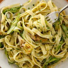 Fettuccine with Pesto, Asparagus, and Artichoke  Recipe