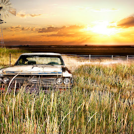 Ghost Rider by Dustin Olsen - Transportation Automobiles ( car, field, sunset, smoked, windmill )