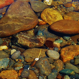 pretty river rocks. Always so much prettier under the water don't ya think by Rachelle MacDonald - Nature Up Close Rock & Stone