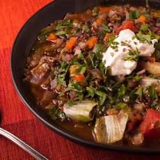 Black Lentil Soup with Smoked Sea Salt & Sour Cream