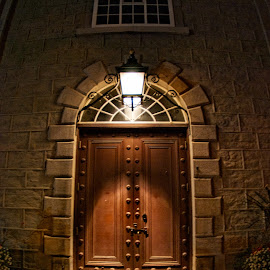 Spooky Doorway by Mike Woodard - Buildings & Architecture Architectural Detail ( doorway, church, quebec city, night )