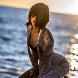 In the Evening Glow by Joe Bowers - Nudes & Boudoir Boudoir ( water, lingerie, sea, ocean, wet, asian )