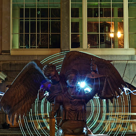 angel in the courtyard by Matt Johnston - Abstract Light Painting ( angel, samford, college, paint, light,  )
