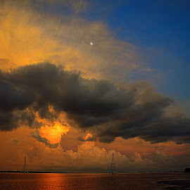 Tampa Bay at Dusk with Overhead Moon. by Jeffrey Moellering - Landscapes Cloud Formations ( safety harbor, philippe park, shelf cloud 08-07-14, dusk, supermoon, tampa bay, blue, orange. color )