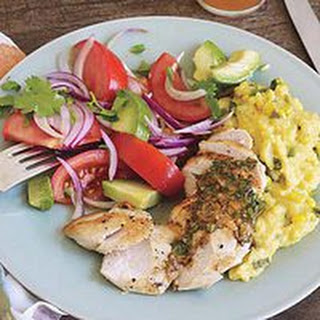 Hot-or-Not Grilled Sliced Chicken with Cheesy Polenta and Guacamole Salad