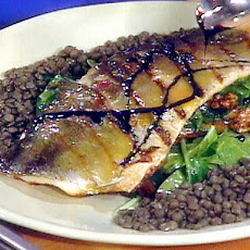 Warm Salad of Grilled Trout with Spinach and Lentils