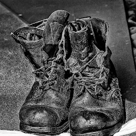 A pair of old army boots by Stephen Tyler - Artistic Objects Clothing & Accessories ( army, old, clothing, footwear, boots, artistic, object,  )