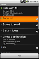Screenshot of uNote, organized notes