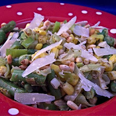 Pesto Tossed Corn, Leeks, and Green Bean Side