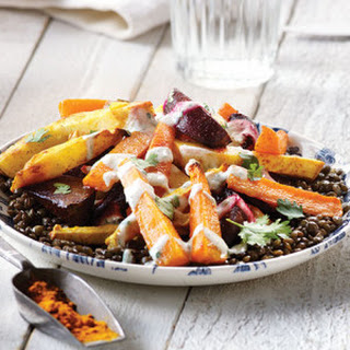 Turmeric-Roasted Root Vegetables with Lentils & Cilantro Yogurt Sauce