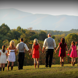The Wedding Party by Freda Nichols - Wedding Groups ( mountains, line-up, weddings, wedding, marriage, party, group, people )