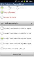 Screenshot of ÖSYM KPSS Yerleştirme Puanları