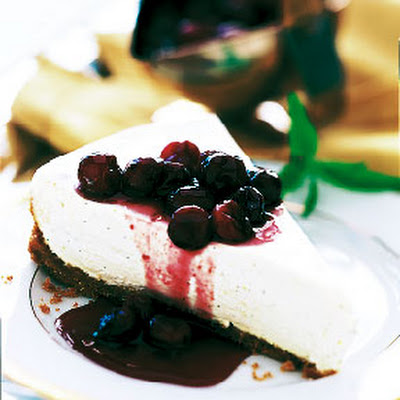 Cheesecake Tart with Cranberries in Port Glaze