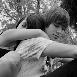Becca and Nathan by Cassie Karanasos - People Couples ( b&w, black and white, couple, young love )