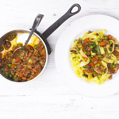 More veg, less meat summer Bolognese