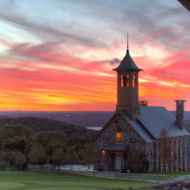 Top of the Rock by Debora Bird - Buildings & Architecture Other Exteriors ( golf course, church, sunset, art, framed, landscape )