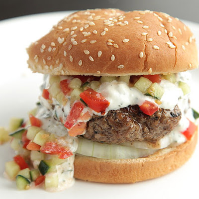 Burgers with Creamy Feta Sauce and Tomato-Cucumber Relish