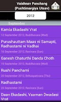Screenshot of Vaishnav Panchang