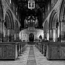 going to church... by Anneke Reiss - Buildings & Architecture Public & Historical ( uk, st.davids, church, saint david's, black and white, cathedral, united kingdom, brittain )
